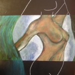 Nude in Radiology - Acrylics on canvas board, framed – 60cm x 76cm