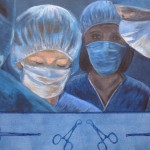 Theatre Nurse - Acrylics on canvas board, framed – 50cm x 60cm